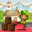 An old man in a green attire beside the barrels — Imagen vectorial
