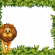 Stock Vector: Lion in front of empty leafy frame