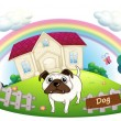 A white bulldog inside the fence with a house at the back — Stock Vector