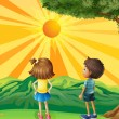 Two kids watching the sunset — Stock Vector #22025523