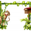 A monkey swinging beside a wooden mailbox — Stock Vector