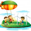 Three children playing at the park - Stock Vector