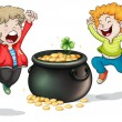 Happy faces of two kids with a pot of money - Stock Vector
