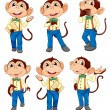 Different positions of a monkey — Stock Vector