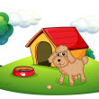 A brown puppy playing ouside the dog house - Stock Vector
