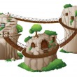 Tree houses with hanging bridges - Stock Vector