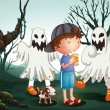 Vector de stock : A boy and his pet at the graveyard with ghosts