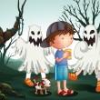 ein Junge und sein Haustier auf dem Friedhof mit Geistern — Stockvektor