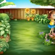 A little girl studying the plants in the garden — Stockvectorbeeld