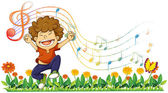 A boy singing out loud with musical notes — Stock Vector