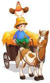 A farmer riding a cart with a chicken above his head — Stock Vector