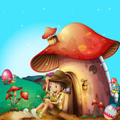 A boy at his mushroom house — Stock Vector
