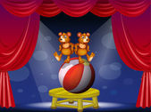 A circus show with two bears — Stock Vector