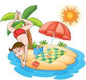 一个男孩在海滩潜水 — 图库矢量图片