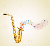 A saxophone with musical notes — Stock Vector