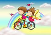 Lovers riding in a bike near the rainbow — Stock Vector