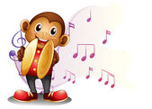 A monkey playing with the cymbals — Stock Vector
