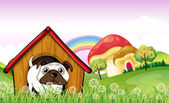 A bulldog in the doghouse near the giant mushrooms — Stock Vector