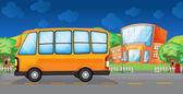 A yellow bus along the street — Stock Vector