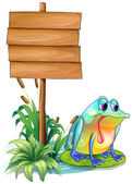 A sad frog above the waterlily beside the wooden signboard — Stock Vector