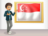 A boy pointing at the Singaporean flag — Stock Vector