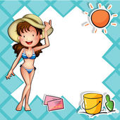 A girl wearing a bikini with a hat — Stock Vector