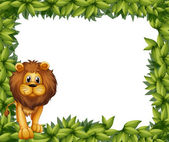 A lion in front of an empty leafy frame — Stock Vector