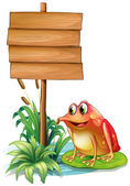 A frog above the water lily beside the wooden signboard — Vettoriale Stock