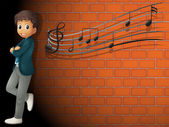A boy standing near the wall with musical notes — Stock Vector