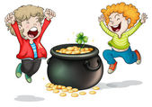 Happy faces of two kids with a pot of money — Stock Vector