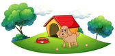 A brown puppy playing ouside the dog house — Stock Vector