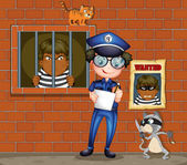 A policeman holding a pen and a paper with two cats in the jail — Stock Vector