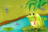 The sad frog in the pond — Stock Vector