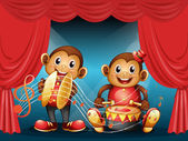 Two monkeys performing at the stage — Stock Vector