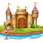 A farm boy riding in his cart at the bridge near the castle — Stock Vector #22204101