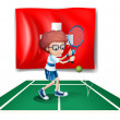 A boy playing tennis in front of the Switzerland flag — Stock Vector