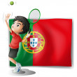 The flag of Portugal at the back of a tennis player — Stockvektor