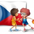 Basketball players in front of the Czech Republic flag — Stock Vector