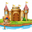 A farm boy riding in his cart at the bridge near the castle — Stock Vector