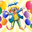 Stock Vector: Clown with colorful party balloons