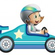 A girl in a car racing competition - Stock Vector