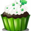 A chocolate cupcake for St. Patrick&#039;s Day - Stock Vector