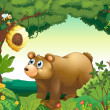 A big brown bear staring at the beehive - Imagen vectorial