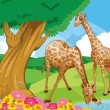 Giraffes at riverbank — Stock Vector #22204171