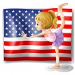 The flag of USA at the back of a dancer — Stock Vector