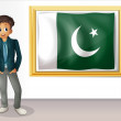 A man beside the framed flag of Pakistan — Stock Vector