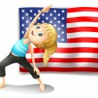 The USA flag with a girl exercising — Stock Vector