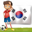 A Korean flag at the back of the soccer player — Imagen vectorial