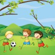 Royalty-Free Stock Vectorafbeeldingen: Kids playing football