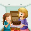 A girl wishing before blowing her birthday cake - Stock Vector